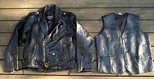Vintage Diamond Plate Buffalo Leather Motorcycle Jacket w Liner + Vest-Med- NEW!