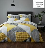 Catherine Lansfield Larsson Geo Easy Care Duvet/Bedding Set Ochre/ Yellow