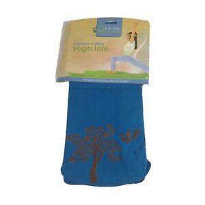 New Wai Lana Green Yoga Tote Organic Cotton Eco Friendly Tree Design Blue