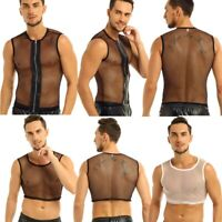 Men Hoodies See Through T-shirt Crop Top Muscle Tank Vest Blouse Tee Clubwear