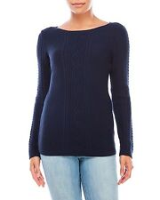 NAUTICA Women's 100% Cotton Cable Stitch Knit Sweater Navy. Size XL. $79. NWT