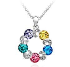 18K White Gold Plated Made with Swarovski Element MultiColour Wreath Necklace