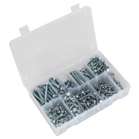 AB061SDH Sealey Self Drilling Screw Assortment 410pc Hex Head Zinc DIN 7504K