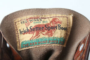 #43 Vintage 1960s Red Wing Irish Setter Sport Boots, with early Woven dog label