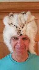 Vintage Authentic White Fox Fur Hat Headdress - Includes Face Paws Tail LOOK!