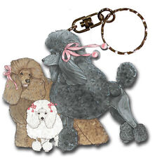 Poodle Wooden Dog Breed Keychain Key Ring