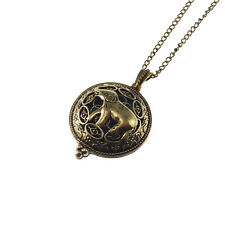 1pc Brass Aromatherapy Oil Diffuser Bronze Hollow Elephant Charm Locket Necklace