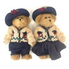 Boyds Bears BearWear Floral Hat Sweater Dress LOT of 2