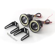 "2x 2.5"" Car Angel Eye COB Halo Ring LED DRL Projector Len Fog Driving Light SUV"