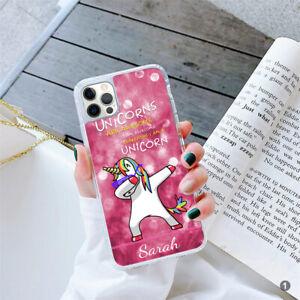 For Apple Samsung Huawei iPhone Personalised Ladies Unicorn GEL Case Cover 060-1