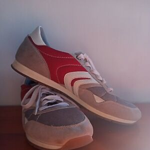 GEOX UK Size 10 Red Grey Leather Runners Quality Italy