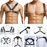 Men's PU Leather Body Chest Harness Belt Fancy Dress Cosplay Night Club Costumes