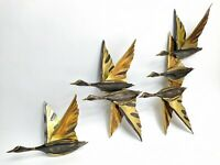 Vintage Brass Flying Ducks/Geese Wall Décor Set Mid Century Hollywood Regency