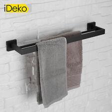 porte serviette mural salle de bain à double barre En Acier Inox Peint noir