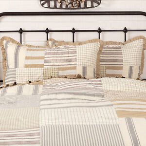 VHC Brands Farmhouse King Sham White Patchwork Grace Cotton Burlap Bedroom Decor