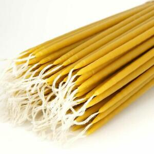 """100% Pure Beeswax Taper Church Candles Orthodox Natural Honey Scent 5 pcs (11"""")"""