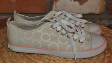 NEW Tommy Hilfiger Tan Canvas LOGO with Pink sneaker runner Shoe 8M 40 NO BOX