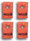 Type II Orange Life Jacket Vest PFD - Adult Universal - Pack of 4