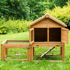 """Deluxe 53"""" Wooden Chicken Coop Hen House Poultry Cage Hutch Nesting Built In Run"""