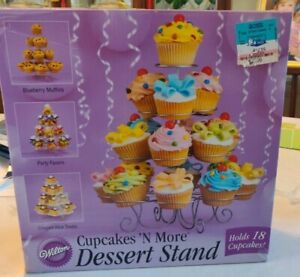 NIB Wilton Cupcakes Muffin Dessert Silver Stand Holds 18  Wedding Party - HTF