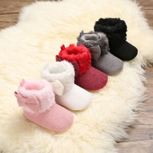 Newborn Baby Girl Pram Shoe Infant Bow High Top Snow Boots Faux Fur Booties 0-18