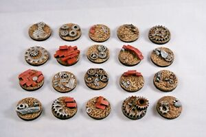 25mm Junk Post Apocalyptic resin bases X10 wargames Sci-fi fantasy, unpainted