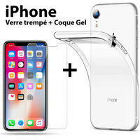 100% Protection Verre trempé écran + Coque iPhone Xs Max XR X 8 Plus 7 6s 5s SE