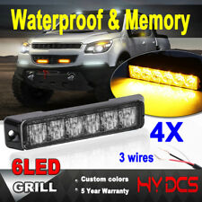 4X 6 LED Tow Truck Emergency Beacon Warn Hazard Flash Strobe Light Amber Yellow