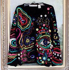 AMAZING MICHAEL SIMON PICASSO EYES SWEATER BLACK L XL BEADED ART SUPER RARE