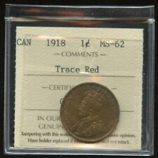 1918 Canada Large One Cent - ICCS MS-62, Trace Red - Cert#GE231