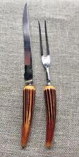 Vintage Bone Handle Meat Carving Knife And Fork Set