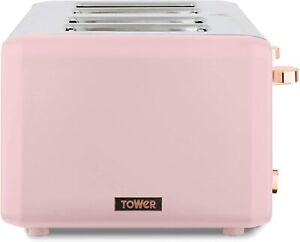 Tower T20051PNK Cavaletto 4-Slice Toaster, Pink/RG, New & Sealed