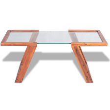 Glass Coffee Table Solid Wood Crystal Tabletop Wooden Modern Side End Brown