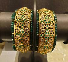 Indian Jewelry 2PC Bollywood Jadau Hyderabad New Gold Plated Kada Set Ak 953