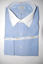 NWT EAGLE MEN'S BLUE STRIPED WHITE COLLAR DRESS FRENCH CUFF SHIRT 17 1/2 32 33
