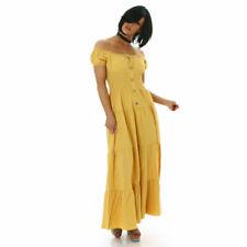 CC Fashion Amarillo Verano Vestido Largo Grande Gathered Abotonado Abajo Lechera