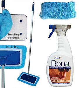 Microfiber Swivel Mop Base Kit / Bona Hardwood Floor Cleaner 32oz Free shipping!