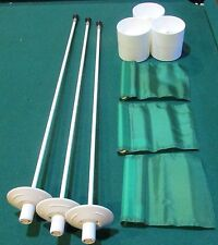 PUTTING GREEN PACKAGE - 3 POLES - 3  GREEN FLAGS -  3 ALUMINUM CUPS