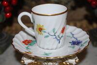 WONDERFUL HAVILAND LIMOGES FRANCE FLOWER DECORATED CABINET DEMITASSE CUP SAUCER