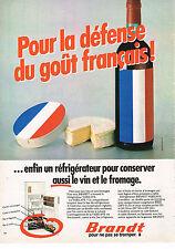 PUBLICITE ADVERTISING 044   1980   BRANDT réfrigérateur pour le vin & le fromage