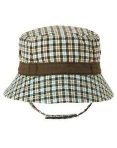 GYMBOREE RHINO CUTIE BROWN PLAID BUCKET HAT 0 3 6 12 18 24 NWT
