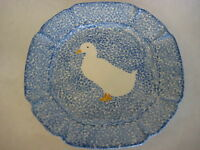 """OLD LOS ANGELES POTTERY (?) BLUE STIPPLE W/DUCK PLATE-MARKED """"N"""" & 504 BOTTOM"""