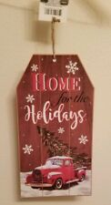 """Rustic Red Truck & Christmas Tree """" Home For The Holidays """" Glitter Wall Sign"""