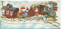 VINTAGE CHRISTMAS EMBOSSED SANTA CLAUS TRAIN NORTH POLE MCM ART GREETING CARD