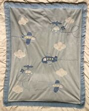 Carters Blue Airplane Helicopter White Cloud Blanket Green Back Just One Year