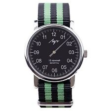 One Hand Luch Mechanical Wristwatch. Black & Green Band, Black Dial. 77471771