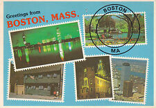 1990's MULTI VIEWS OF BOSTON MASSACHUSETTS UNITED STATES COLOUR POSTCARD