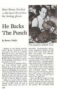 EVERLAST BOXING GLOVES 1946 COMPANY STORY: BENNY GOLOMB THE MAN WHO MAKES THEM!