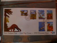 DINOSARS SET OF 6  NEW ZEALAND1993  FIRST DAY COVER