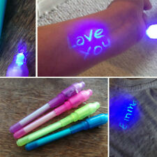 4PCS Invisible Ink Pen Built In UV Light Magic Marker Secret Message Gadget Pen